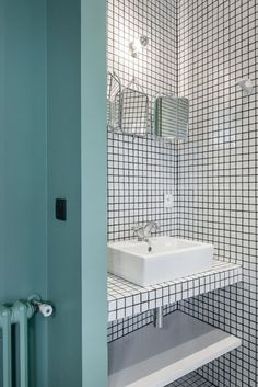 (18) bathroom mosaïque blanche joints noirs | Agrifogli_flat | Pinterest
