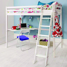 Noa & Nani - High sleeper cabin bed in white. Maximise the space in your child's bedroom with this versatile, stylish higher sleeper. Small Room Bedroom, Trendy Bedroom, Small Rooms, Kids Bedroom, High Sleeper Cabin Bed, High Sleeper With Desk, Cabin Bed With Desk, Bunk Bed With Desk, High Rise Bed