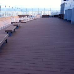 Dark brown WPC flooring,with anti-moth not cracking function #wpc #wpcdeck #deck #decking #outdoordecking #floor #outdoorflooring