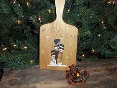 Primitive Snowmen Hand Painted Christmas Decor Freezin Season  #NaivePrimitive