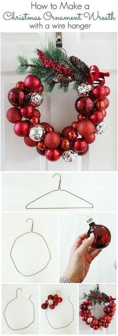 Christmas Ornament Wreath With A Wire Hanger. Christmas Ornament Wreath With A Wire Hanger. Festival Diy, Diy Fest, Christmas Ornament Wreath, Noel Christmas, Ball Ornaments, Christmas Movies, Ornaments Ideas, Diy Door Wreaths Christmas, Christmas Wreaths Diy Ornaments