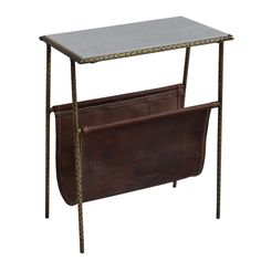 Leather & iron magazine rack or side table with marble top.   10w 18d 22h