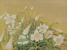 LE PHO 1907 - 2001 BOUQUET LILIES Signed and stamped with a seal of the artist Ink and gouache on silk laid on board by 74 cm. 22 by 29 in. Lily Painting, Bouquet, Vintage Botanical Prints, White Lilies, Vietnam, Flower Art, Illustration Art, Illustrations, Art Photography