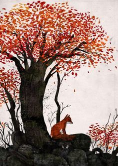 autumn fox.Gelrev Onbico, Philppines artist who uses with ink, watercolour, poster paint and digital work.