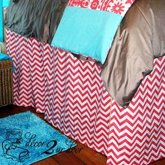 Design Your Own Bed Skirt or Dust Ruffles | Custom Teen Girl & Dorm Room Designer Bedding & Decor. Custom-made so that you can select the perfect length to fit your dorm bed.