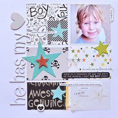 #papercrafting #scrapbook #layout - Bella Blvd Max collection. Has My Heart layout by creative team member Jennifer Chapin.