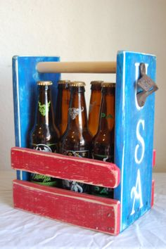 USA Patriotic Beer Caddy Beer Holder Six Pack Holder by WoodCore