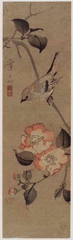 Keisai Eisen (Japanese (1790 – 1848) -Sparrow and Camellia -