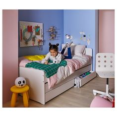 SLÄKT Bed frame w/pull-out bed + storage, white, Twin. Under this bed frame there is an extra bed and 2 drawers for the quilt and pillow. Cama Ikea, Lit Simple, Simple Bed, Twin Bedroom Sets, Girls Bedroom, Childrens Single Beds, Ikea Kids Bed, Ikea Bed Frames, Bed With Underbed