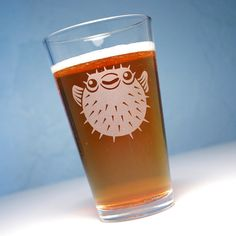 Pufferfish etched pint glass - spiny puffer fish on Etsy, $15.00