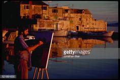 Artist Zvohimir Mihavovic paints at the edge of the harbor at... #kastelluksic: Artist Zvohimir Mihavovic paints at the edge… #kastelluksic