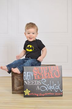 Every Superhero Needs a Sidekick Pregnancy by MMasonDesigns, $15.00 Cuuuute announcement for baby number two!