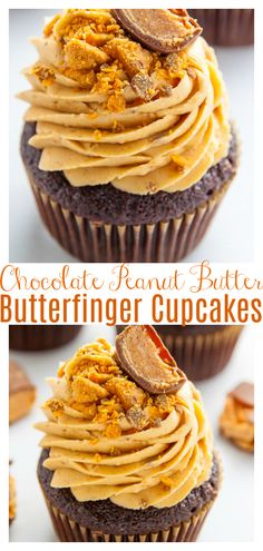 Butterfinger Chocolate Cupcakes - Baker by Nature Butterfinger Cupcakes, Chocolate Peanut Butter Cupcakes, Peanut Butter Recipes, Chocolate Recipes, Frosting Recipes, Cupcake Recipes, Dessert Recipes, Fun Desserts, Delicious Desserts