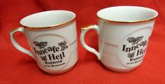 Pair Vintage Inncafe Hell Rufstein Porcelain Coffee Cups