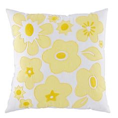 Shop Go Lightly Throw Pillow (Yellow).  Freshen up your girls' bedroom with this yellow floral throw pillow.  It features gorgeous embroidered details and coordinates with our Go Lightly Bedding.
