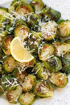Garlic Lemon and Parmesan Roasted Brussel Sprouts - Cooking Classy Shrimp Recipes Easy, Spicy Recipes, Parmesan Recipes, Butter Pasta, Roasted Vegetables, Roasted Sprouts, Sprout Recipes, Good Healthy Recipes, Recipe For 4