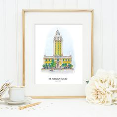 Miami Freedom Tower, illustration great gift for anyone with Latin background. Historical illustration