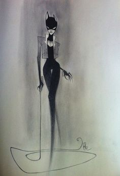 Catwoman illustration by Desoluz.deviantart.com. I like how her legs fade, gives a sense of her quietly stalking her prey...