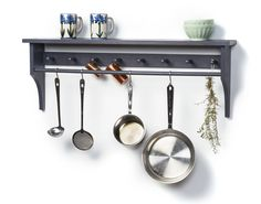 """Simple(r) pot rack (""""ICDT,"""" February 2014 PWM).   This one uses home center dimensional lumber and a dowel (rather than the fancier/more expensive maple and stainless rack I made for my kitchen)."""