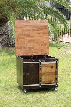 Rustic Cat Litter Box Storage w/ flip up top Sliding barn