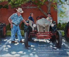 Tractor Day at the Farmer's Market Original Oil by Woodstock Georgia, Art Village, Vignettes, Farmer, Tractors, Oil On Canvas, Original Paintings, Auction, Marketing