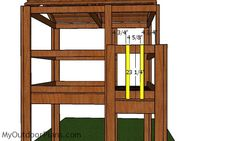 This step by step diy woodworking project is about outdoor fort plans. I have designed this super simple fort so you can build one in the weekend, using basic materials and tools. Backyard Fort, Kids Backyard Playground, Backyard For Kids, Playground Ideas, Simple Playhouse, Wooden Playhouse, Forts For Kids Outdoor, Outdoor Play, Outdoor Chairs