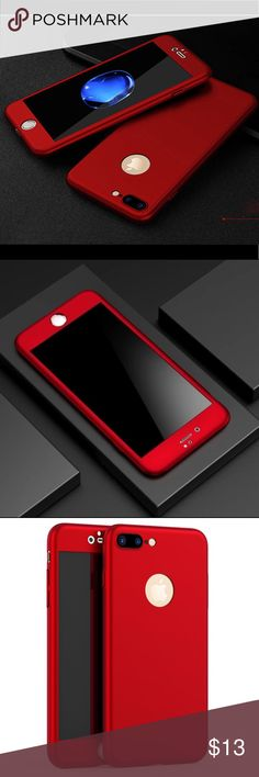 iPhone 7 Plus Stylish 360 full cover hard case iPhone 7 Plus Stylish 360 full cover hard case Stylish and fashion Brand new 360 degree full cover case with high quality tempered glass screen protector hard case for Apple iPhone 7 Plus. Color: Red Fast shipping. Thanks for choosing my closet. Accessories