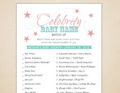 Celebrity Baby Name Matching Game for Baby Showers - Printable and Personalized. $10.00, via Etsy.