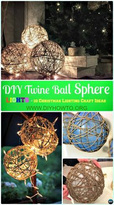 DIY Twine Sphere Ball Lights Instruction -DIY Christmas Lights Ideas Crafts