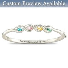 Our Family Is A Circle of Love Personalized Birthstone Bracelet