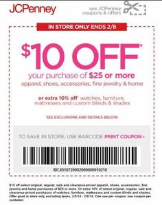 #JCPenny #Printable #Coupon-$10 Off Purchases of $25 or More