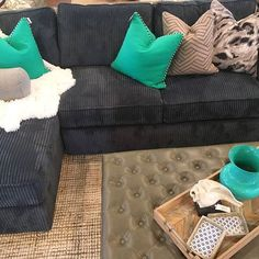 Cozy and coastal! Our Norwalk sectional with turquoise pops is so comfy you'll have to sit just a little longer.
