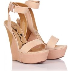 lanvin wedges, wood + nude leather