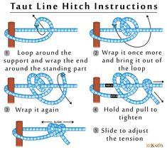 Taut line hitch 101 knots Paracord Knots, Rope Knots, Survival Knots, Survival Skills, Cub Scouts, Girl Scouts, Hammock Knots, Scout Knots, Knots Guide