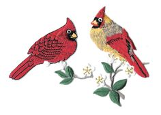 Cardinal - Bird - Cardinal Couple On Branch - Embroidered Iron On Applique Patch #Unbranded