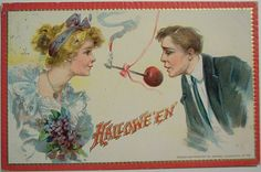Two newlyweds bobbing for an apple and a flaming candle: | 22 Truly Bizarre Vintage Halloween Postcards