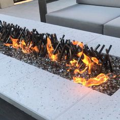 From recycled steel rods fire pits videos Linear bonfire (any size)