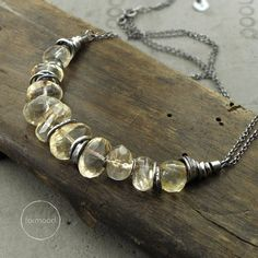 Necklace is made of oxidized silver 925 and natural citrine in form of nuggets.  Dimensions: Necklaces circuit is adjustable: 17 + 1.6 inches (43 + 4 cm) Stones: approx. 0.31 – 0.59 inches (8 – 15 mm)  Ready to ship  We pack all the items in corporate boxes (visible in some offers). We ship all the consignments as priority registered consignments in well protected cartons.  Thank you for visiting
