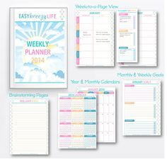 {Free} Printable Planner for 2014. Includes yearly and monthly calendars, week-to-a-view planner pages, monthly and weekly goal worksheets, and space for brainstorming. Download your Easy Breezy Life Weekly Planner 2014 from http://easybreezyparties.com.au/party-inspiration-and-ideas/item/36-your-free-easy-breezy-life-weekly-planner-2014.html