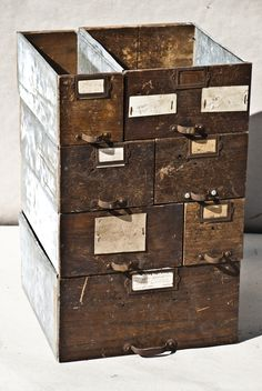 Vintage Industrial Drawers from http://www.phillyprovenance.com/  http://www.architecturalantiques.com