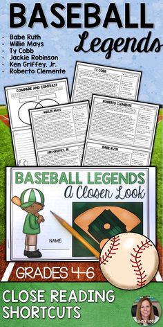 Students LOVE Baseball Legends Close Reading Passages! These no-prep close reading printables and close reading activities are perfect for 4th, 5th, 6th, and 7th grade classrooms! Replace those boring worksheets, and click through to see these clever 1/2 page Close Read Shortcuts! I love that you can use them for Reading centers, independent work, and Reading intervention groups! Batter Up!  Baseball Reading for Kids | Jackie Robinson | Babe Ruth | Roberto Clemente | Nonfiction Reading