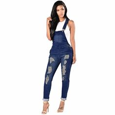 0329d6b375b Womens Cotton Denim Overalls Casual Ripped Hole Pants Jeans Washed Hole  jeans plus size women jeans
