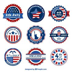7fcb77a2c638c8 Rounded vintage badges of independence day Free Vector