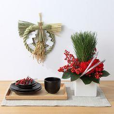 muji's new year's flower arrangement 松と南天のお正月アレンジ