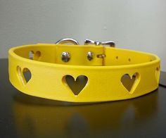 Hearts Biothane Dog Collar - Available in Orange, Blue, Pink, Green, White, Brown and Black - Hypoallergenic dog collar