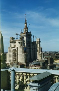 The finishing touches are put on the Stalinist skyscraper on Kudrinskaya ploshchad. Photographed from the roof of the new U.S. Embassy.