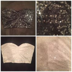 2 Sequin Bandeau Tops from Express size Medium Two sequin bandeau style tops from Express. One black and one white. Sequins are clear, any perceived color is a result of the light hitting them. Size medium. Tag reads 'sexy stretch' Express Tops