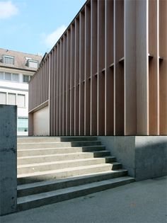 Miller & Maranta - Market Hall Aarau School Architecture, Interior Architecture, Miller Maranta, Market Hall, Valencia, Modern Architects, Timber Cladding, Roof Structure, Concrete Wood