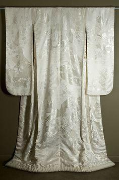 Japanese Shiromuku - Silk satin damask wedding kimono.