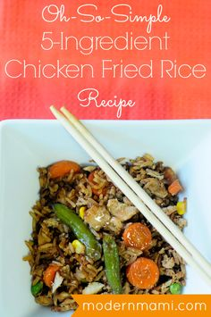 Simple chicken fried rice recipe with only 5 ingredients! Chicken Fried Rice Recipe Easy, Fried Chicken, Chicken Recipes, Cooked Chicken, Rotisserie Chicken, Paprika Parmesan Baked Chicken, White Rice Recipes, Cooking White Rice, Chicken And Vegetables